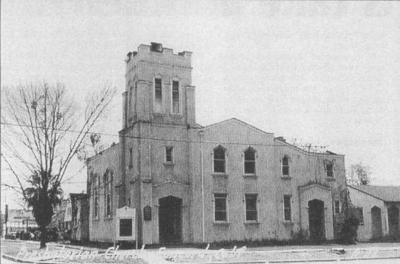 Black and white image of church building built in 1916