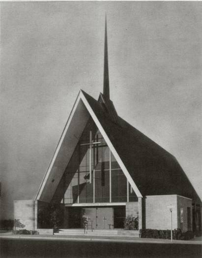 Black and White photo of Church Sanctuary when newly constructed in 1956