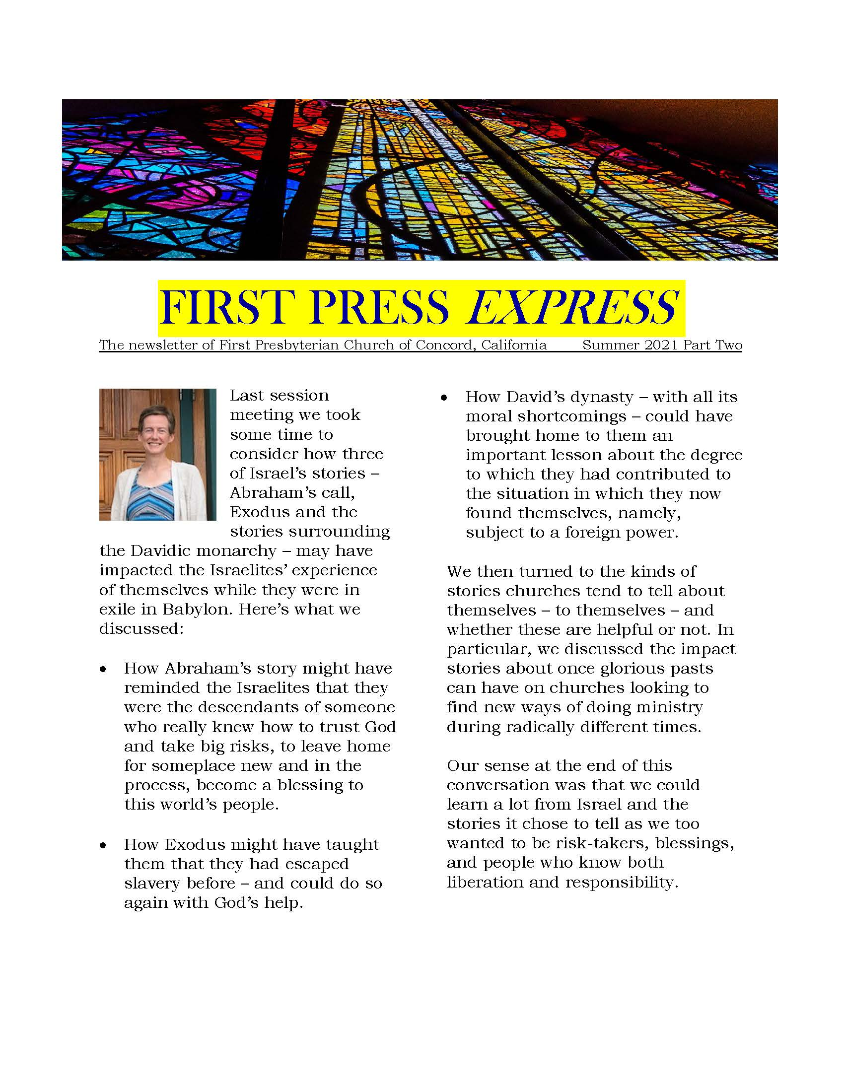 cover of first press express with headshot of Pastor Johanna and banner image of stained glass
