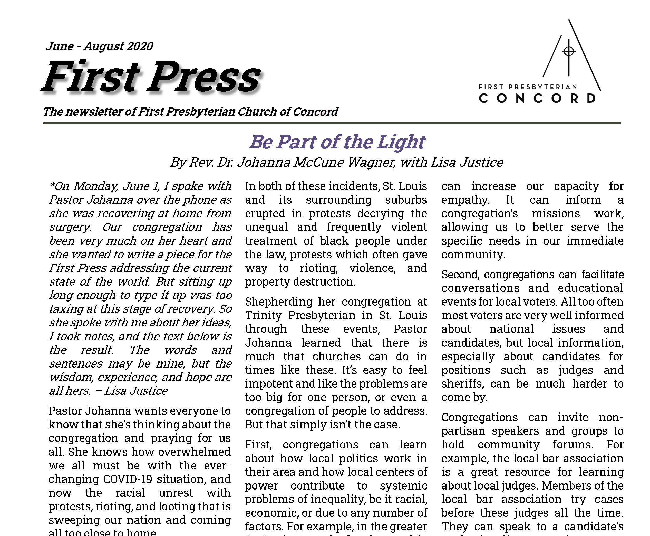 first page of June 2020 edition of First Press