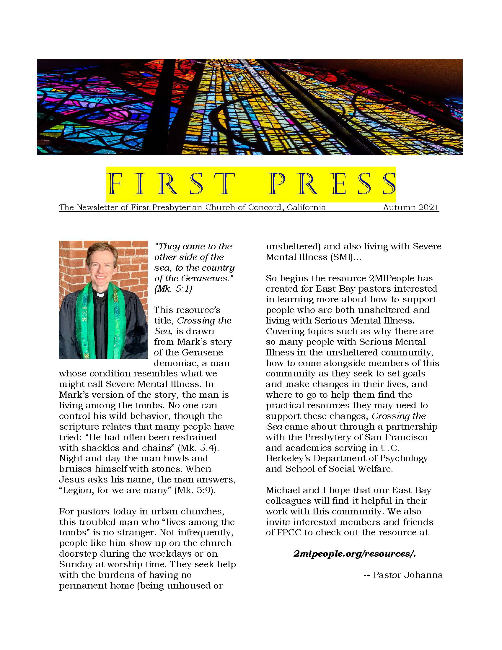 first page of First Press Autumn 2021
